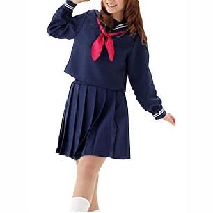 Blue Slong Sleeves School Uniform Cosplay Costume