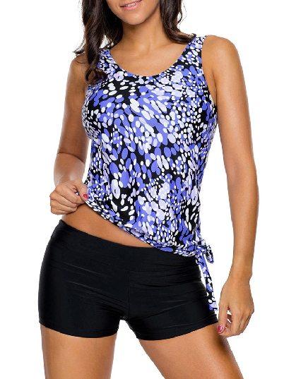 Blue Low-waist Dewdrop Printing Flat-angle Shorts Tankini Swimsuit