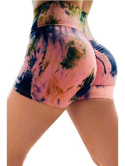 Pink Printed High Waist Lift Up Stretch Tight Yoga Shorts