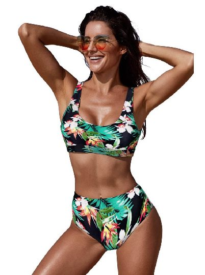 Green Sexy Printed U-neckline High Waist Swimsuit Bikini