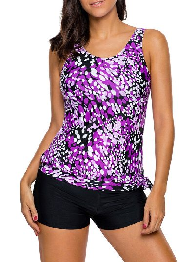 Purple Low-waist Dewdrop Printing Flat-angle Shorts Tankini Swimsuit