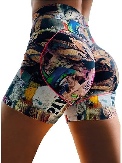 Color Printed High Waist Lift Up Stretch Tight Yoga Shorts