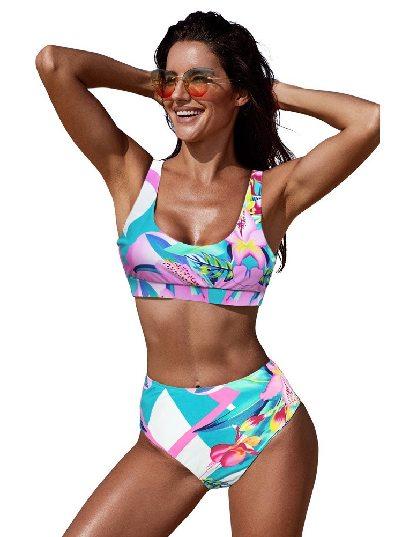 Pink Sexy Printed U-neckline High Waist Swimsuit Bikini