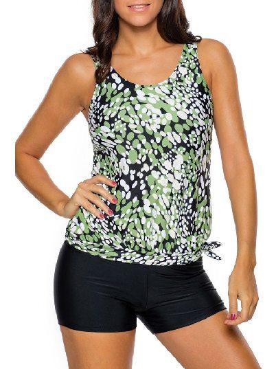 Green Low-waist Dewdrop Printing Flat-angle Shorts Tankini Swimsuit