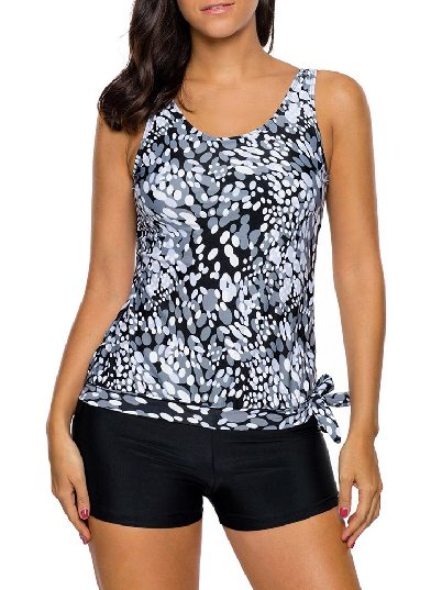 As shown Low-waist Dewdrop Printing Flat-angle Shorts Tankini Swimsuit