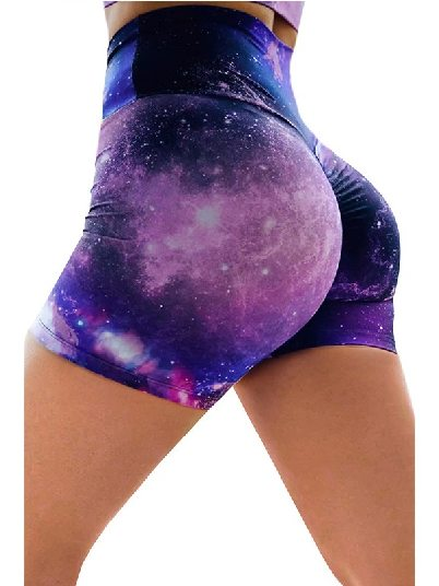 Purple Printed High Waist Lift Up Stretch Tight Yoga Shorts