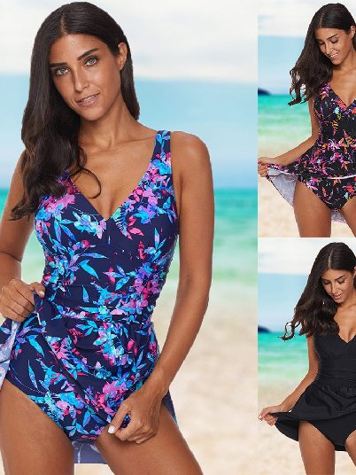 Sexy Belly Covered Pure Color Print Swimdress