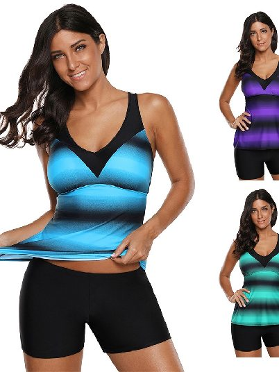 Bikini Gradient Ombre Print Strappy Tankini and Short Two-piece Swimsuit