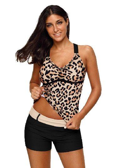 leopard printing Split Swimsuit Printed Fuzzy Stripes Strappy Back Tankini Top