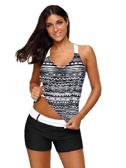 Black and white Split Swimsuit Printed Fuzzy Stripes Strappy Back Tankini Top