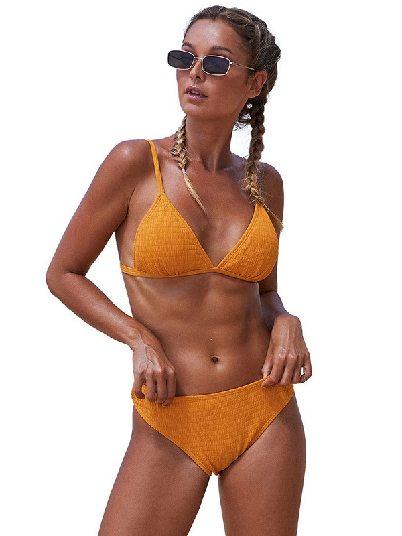 Yellow Beach Split Triangular Smocked Sexy Bikini Set
