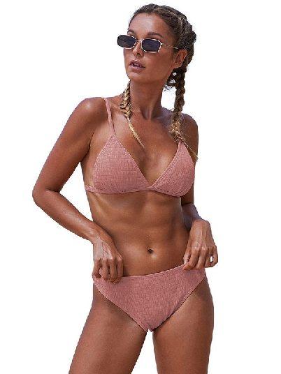 Pink Beach Split Triangular Smocked Sexy Bikini Set