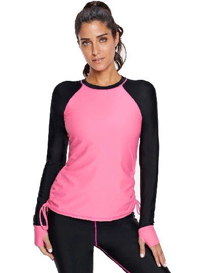 Black Mint Color block Sports Style Long Sleeve One-piece Rashguard