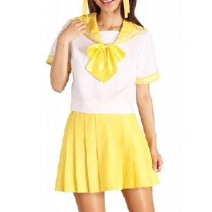 Yellow Short Sleeves Sailor School Uniform Cosplay Costume