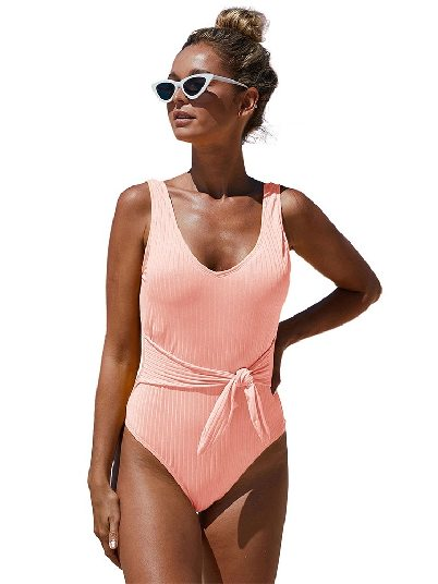 Pink Summer One-piece Swimsuit Scoop Neck Tie Waist Ribbed Women Maillot