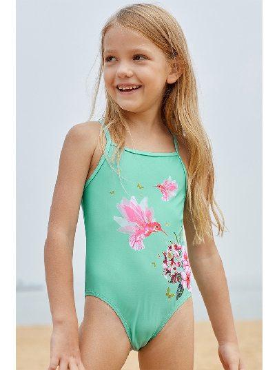 Girls Mint Floral and Birds Cute Print Little Children One-piece Swimwear