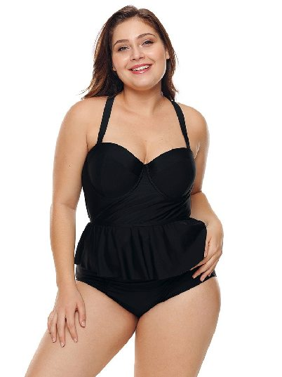 Black Hot Spring Swimsuit Triangle Split Plus Size Bikini