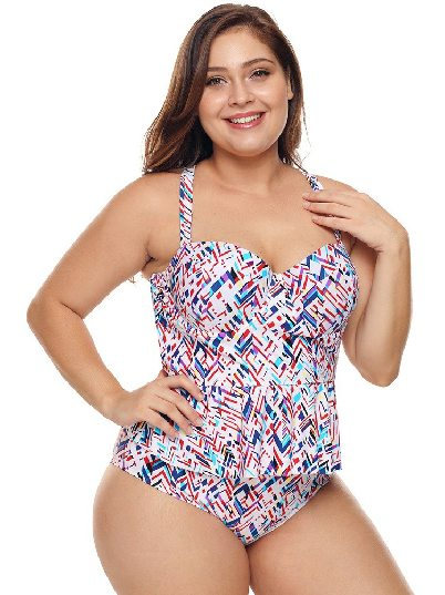 Color Hot Spring Swimsuit Triangle Split Plus Size Bikini