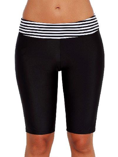 One-piece One-piece Striped Waistband Boy Leg High-waist Stripe Short Swim Bottom