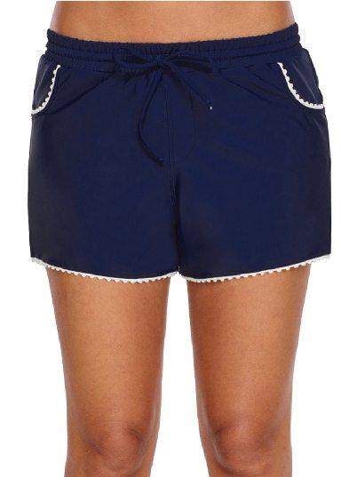 Cute Scalloped Trim Navy Blue Flat-angle Pants One-piece Swim Shorts