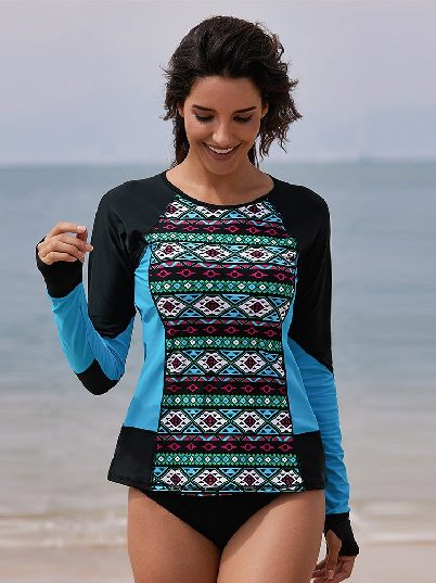 Long Sleeves Color Block Tribal Print One-piece Surfing Suit Rashguard Top