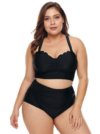 Sexy Plus Size Scalloped Detail High Waist Bikini Hot Spring Split Swimsuit