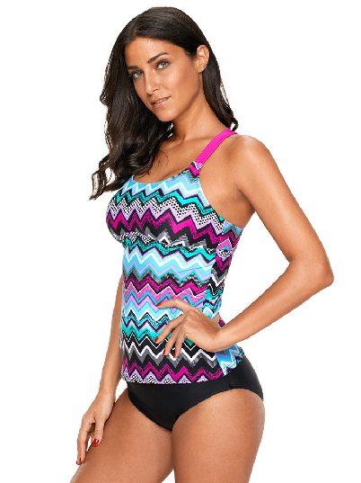 Purple Swimsuit Coral Zigzag Print One-piece Tankini Top