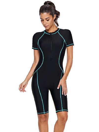 Sky Blue Diving Suit Short-sleeved Seam Contoured Zip Front One-piece Swimsuit