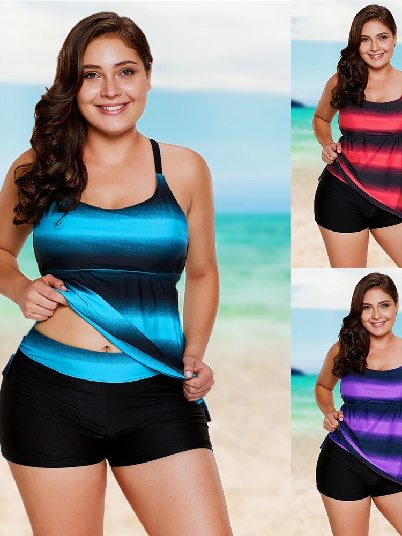 Gradient Flat-angle Pants Plus Size Split Swimsuit