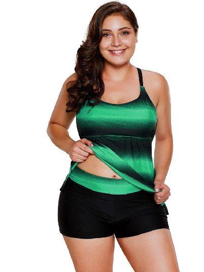 Green Gradient Flat-angle Pants Plus Size Split Swimsuit