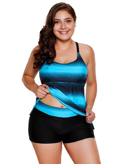 Blue Gradient Flat-angle Pants Plus Size Split Swimsuit